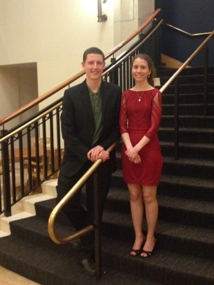 The composers: Nathan Cornelius and Sarah Perske after the Lamont School of Music performance