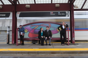 Another pose at the light rail station. From left to right: the homeless woman (Sonora Dolce), Anna (Emily Gradowski), James (Blake Nawa'a), and the doctor (Heidi McAuley).