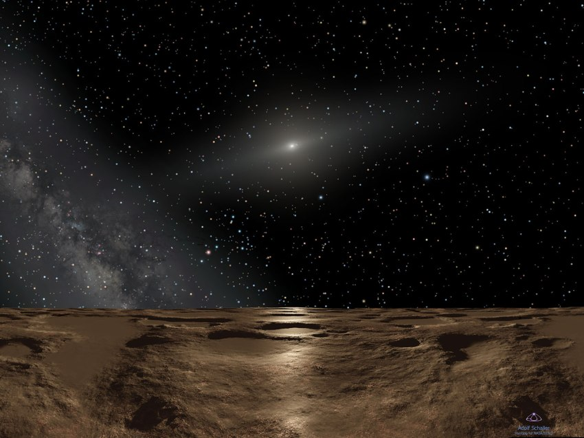 "This is an artist's impression of noontime on Sedna, the farthest known planetoid from the Sun. Over 8 billion miles away (almost 13 billion kilometres), the Sun is reduced to a brilliant pinpoint of light that is 100 times brighter than the full Moon. (The Sun would actually be the angular size of Saturn as seen from Earth, way too small to be resolved with the human eye.) The dim spindle-shaped glow of dust around the Sun defines the ecliptic plane of the solar system where the major planets dwell. To the left, the hazy plane of our Galaxy, the Milky Way, stretches into the sky. The background constellations are Virgo and Libra. At this distance the Sun's feeble rays are nearly one four-thousandth the intensity of what they are at Earth. This means that Sedna is eternally cold at minus 400 degrees Fahrenheit, which means that the planetoid is airless and icy. Life, as we know it, could never live here. But if anything could survive, it would have an intriguing global view of the entire solar system. A fifth-magnitude object, barely three degrees from the Sun (the pinpoint at the two o'clock position) is Jupiter. Saturn is also visible as a dim star. Earth would be only half a degree from the Sun and, at ninth magnitude, only be visible in powerful binoculars. To our imaginary ""Sednian"" astronomers, all the planets would be in inferior orbits (meaning interior to Sedna's orbit). This means they would best be seen in the predawn morning sky and post sunset evening sky, but never at midnight."