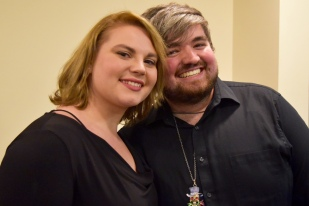 Soprano Emily Gradowski and percussionist Kyle Hughes at our post-concert reception